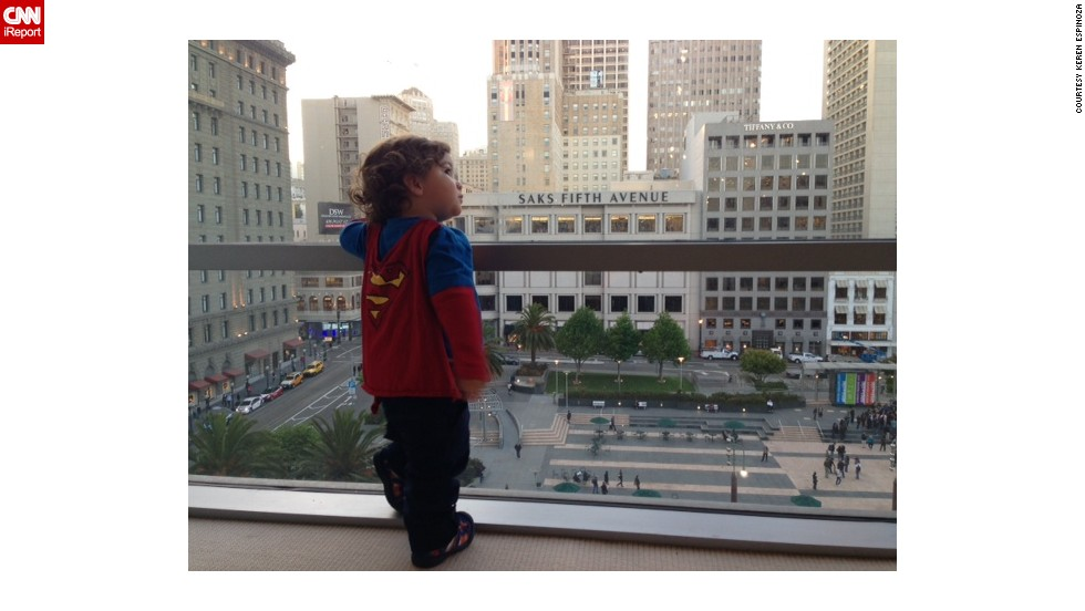 "<a href=""http://ireport.cnn.com/docs/DOC-978667"">Keren Espinoza</a> loves dressing her 19-month-old son, Jadon, as Superman. ""I love to see him run and swing at the park. He looks like his cape really makes him fly,"" she said. She says Jadon's father is a huge comic book fan, and Jadon already has years worth of superhero memorabilia waiting to be passed down to him by his family."