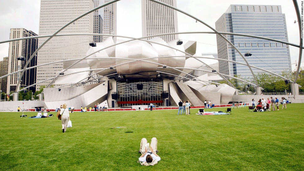 The Jay Pritzker Pavilion in Chicago's Millennium Park hosts the free Grant Park Music Festival.