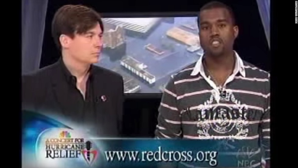 "<strong>September 2005: </strong>If you didn't know by September 2005 that Kanye is not the type to stick to the script, <a href=""http://www.youtube.com/watch?v=9pVTrnxCZaQ"" target=""_blank"">he proved it during a relief telethon</a> for Hurricane Katrina victims. Speaking alongside Mike Myers, 'Ye memorably started ad-libbing, leading to a phrase that still hasn't lived down its infamy: ""George Bush doesn't care about black people."""