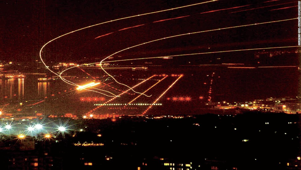 """""""With no other runway in the world demanding such a tight, curved approach, the lighting pattern had to be unique to Kai Tak,"""" according to Hong Kong's Civil Aviation Department."""