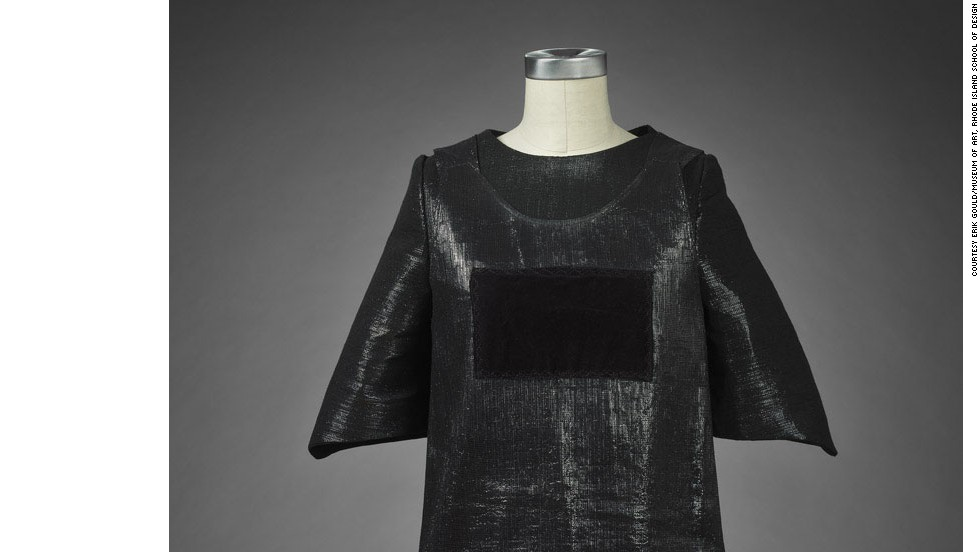 Sonic fabric 'voidness dress,' a one-piece A-line dress with a patch of velvet (or 'voidness') on the front. The velvet is the only part of the garment which cannot emit sound.