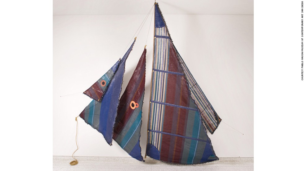 "In 2007, Santoro made a set of five sailboat sails inspired by Tibetan prayer flags and ""tell-tales"" (or wind indicators) which are often used on sailboats. Each color in the pattern represented a note in a musical score."