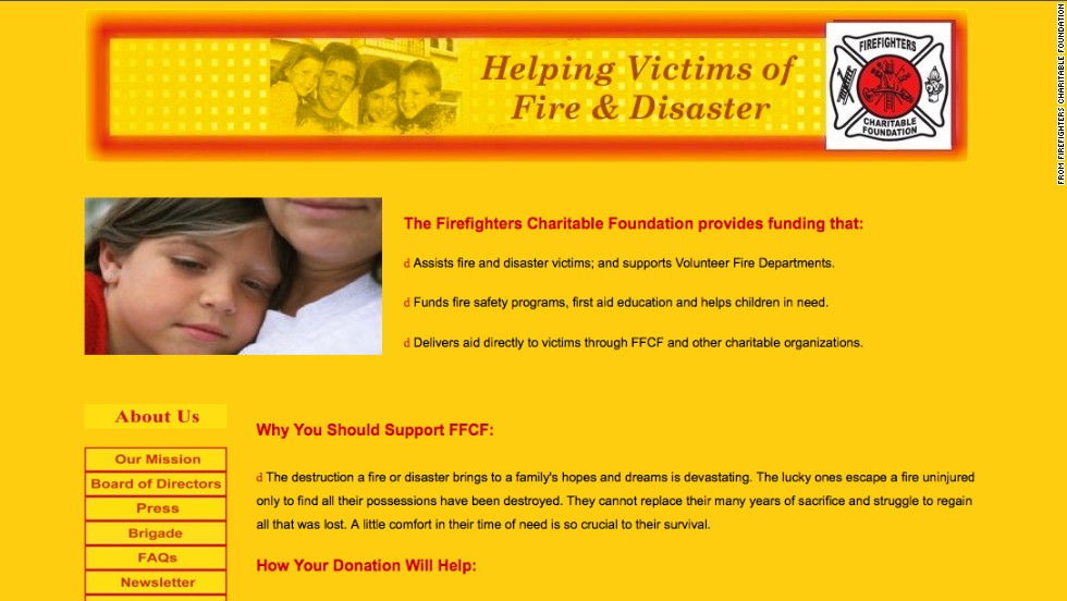 "<a href=""http://www.tampabay.com/americas-worst-charities/charities/firefighters-charitable-foundation"" target=""_blank""><strong>No. 5: Firefighters Charitable Foundation:</a></strong> This group says it provides financial assistance to people who have been affected by a fire or disaster. From 2002 to 2011, it raised $64 million in donations and paid $55 million of that to its solicitors. The charity spent less than 10 cents of every dollar raised on direct financial assistance to those in need. The group said in 2007 that it planned to change. That hasn't happened."