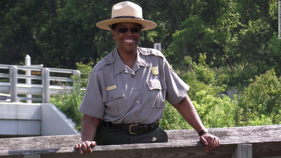 Meet park ranger Margaret Adams, who has been working at Cuyahoga Valley since 1999, standing outside the park's Canal Visitor Center.