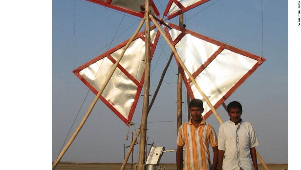Mehtar Hussain and Mushtaq Ahmed from Assam built a bamboo windmill for around $100 to pump water from a small padi field. The invention has now been adopted by Gujarati salt workers, who are some of the poorest people in the state, to pump brine water. Petrol-powered pumps consume huge amounts of fuel, at a cost of around $1,000 each year. The wind-powered pump runs at a fraction of the cost.