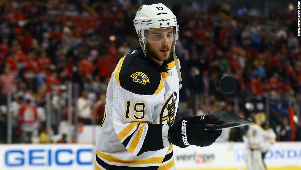 Tyler Seguin of the Boston Bruins bounces a puck on his stick during warm-ups.