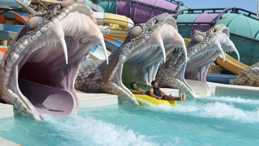 Just next door to Ferrari World, visitors can cool off at Yas Waterworld, the largest water park in Abu Dhabi.