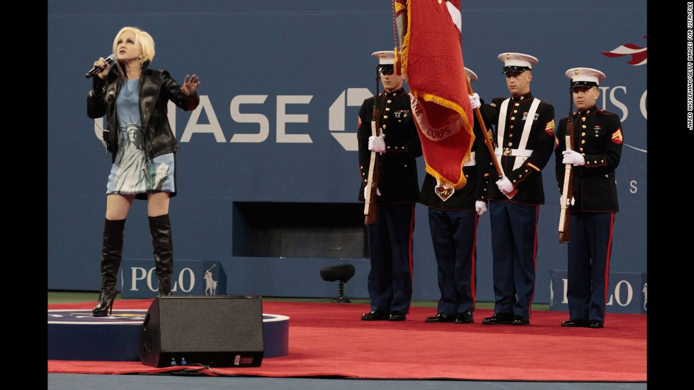 "Cyndi Lauper became another singer to flub the national anthem when she performed at the U.S. Open tennis tournament around the 10-year anniversary of 9/11. ""The moon shone done on us and I tried to say a prayer at the same time.. I hope I didn't mess up too bad. I wanted it to be comforting,"" <a href=""https://twitter.com/cyndilauper/status/112718783164063744"" target=""_blank"">she tweeted afterward</a>."
