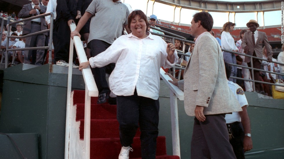 """Comedian Roseanne Barr's disastrous rendition of the national anthem during a San Diego Padres game in July 1990 drew almost unanimous boos. <a href=""""http://www.youtube.com/watch?v=k6o-AMClTXA"""" target=""""_blank"""">In a 2012 interview</a>, Barr told CNN's Piers Morgan it was """"a huge regret that was hard to come back from."""""""