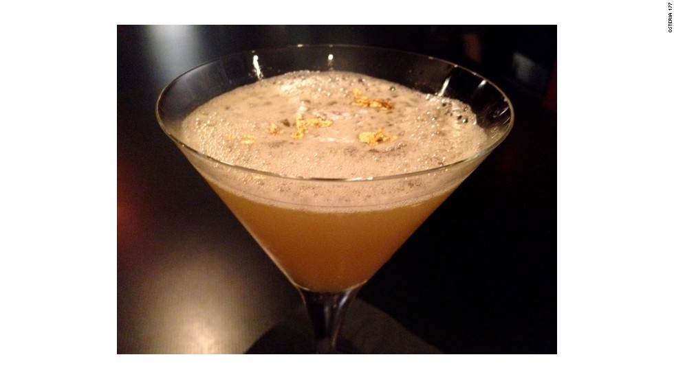 The St. John cocktail from Osteria 177 in Annapolis, Maryland, mixes Louis XIII cognac, Grand Marnier Cuvee du Centenaire, Meyer lemon juice, syrup made from Meyer lemon and Grade 1 saffron. Don't forge the garnish -- 23k edible gold flakes.