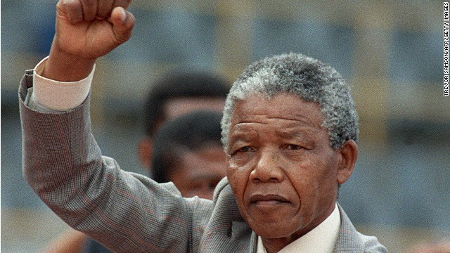 Nelson Mandela prepares to address a rally just a few days after he was released from prison, in February 1990.