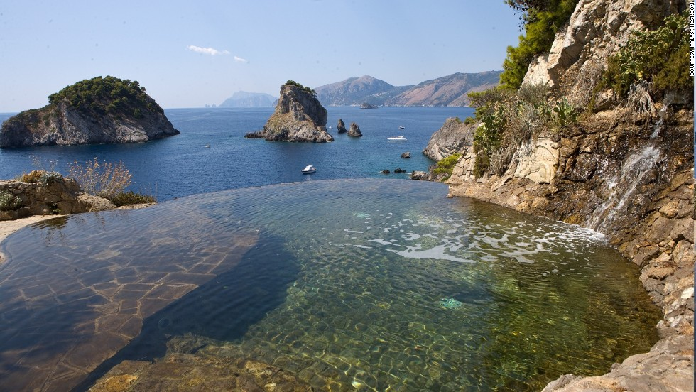 Italy's Isola de Li Galli delivers stunning Mediterranean scenery from a saltwater pool. The rocky island is just off the Amalfi Coast.