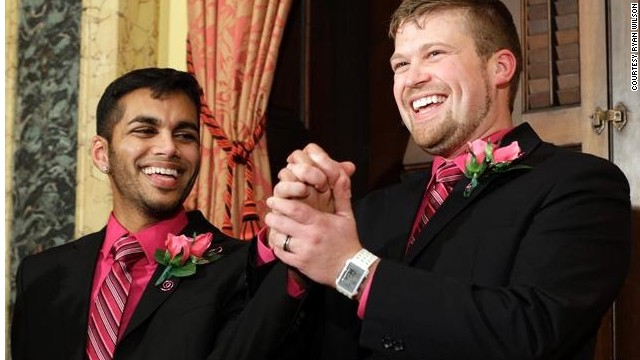 Ryan Wilson, right, and Shehan Welihindha were married in Maryland in January, 2012