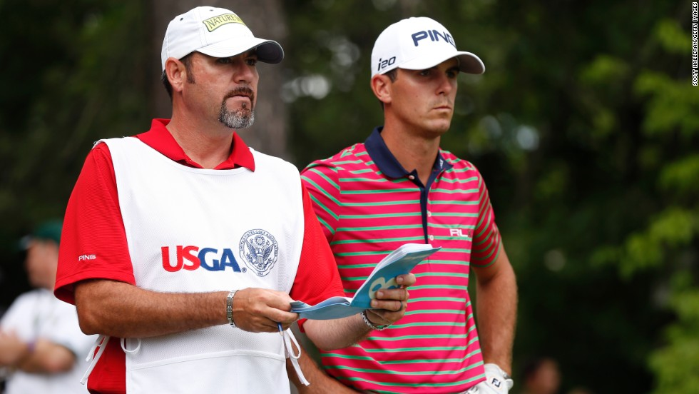 Billy Horschel of the United States waits on the 16th tee with caddie Micah Fugitt during round two on June 14.