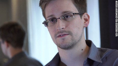 This still frame grab recorded on June 6, 2013 and released to AFP on June 10, 2013 shows Edward Snowden, who has been working at the National Security Agency for the past four years, speaking during an interview with The Guardian newspaper at an undisclosed location in Hong Kong. Snowden, who has said he wants to apply for asylum in Russia, is studying his options and likely to make a decision shortly, a lawyer said on July 16, 2013. AFP/Getty Images
