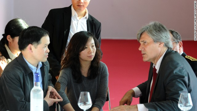 French Agriculture Minister Stephane Le Foll speaks with a Chinese embassy delegation on Sunday.