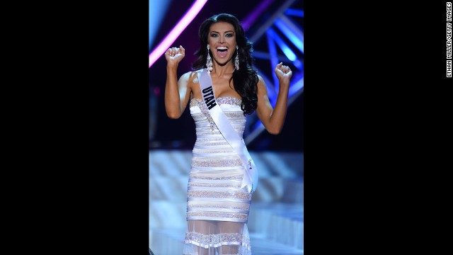 LAS VEGAS, NV - JUNE 16:  Miss Utah USA Marissa Powell gestures to the crowd during a commerial break in the 2013 Miss USA pageant at PH Live at Planet Hollywood Resort & Casino on June 16, 2013 in Las Vegas, Nevada.  (Photo by Ethan Miller/Getty Images)