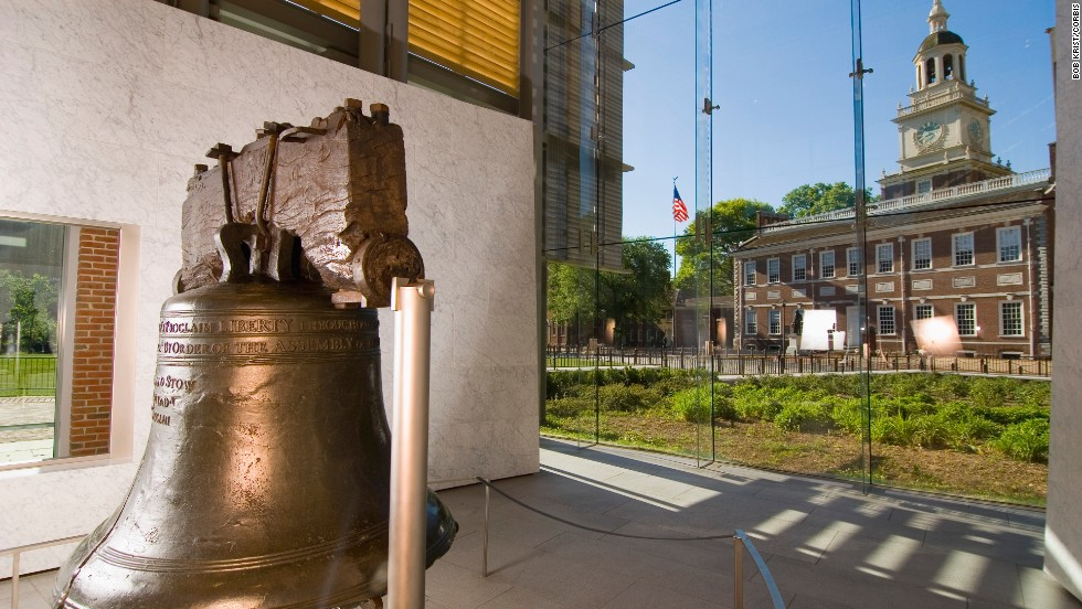 Folks line up to see the 2,000-pound Liberty Bell -- enshrined in glass -- and tour Independence Hall in Philadelphia.