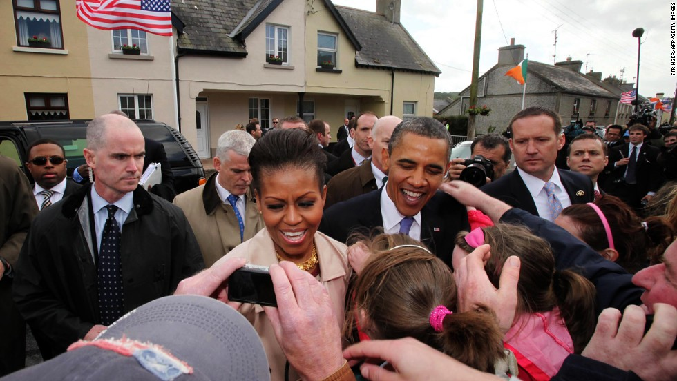 The Obamas greet fans in Moneygall village in rural County Offaly, Ireland, on May 23, 2011.