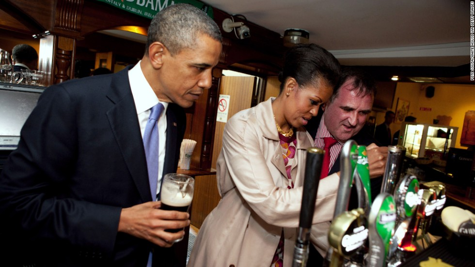 Obama draws a pint at Ollie Hayes' Pub on May 23, 2011, in Moneygall.