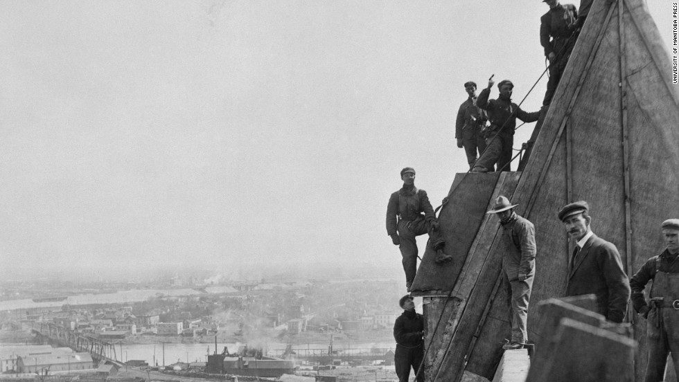 This shot of the hotel's roof under construction was taken by Winnipeg photographer L.B. Foote in 1913.