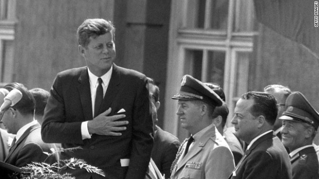President John F. Kennedy speaks at Schoeneberg City Hall in Berlin on June 26, 1963.