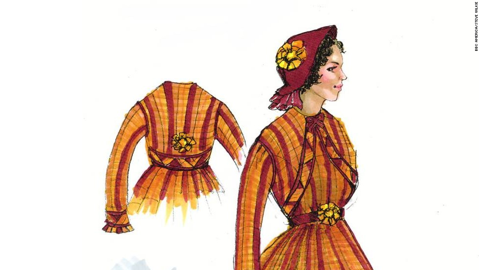 """It's all about the details. From ruching and pleating to distressing fabric and lacing corsets, the """"Copper"""" costuming team has its hands full. Concepts like this elaborate gown for character Sara Freeman go from sketch to reality every week."""