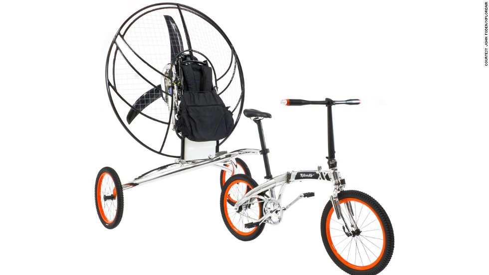 The Paravelo looks like a conventional bike connected to a two-wheeled trailer. Both the airframe and bike are made from aircraft grade aluminum.