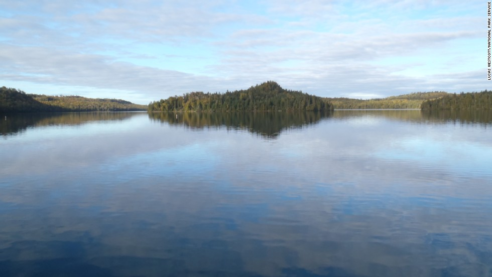 The calm protected waters of Washington Harbor are popular among visitors looking to explore Isle Royale by canoe or kayak.