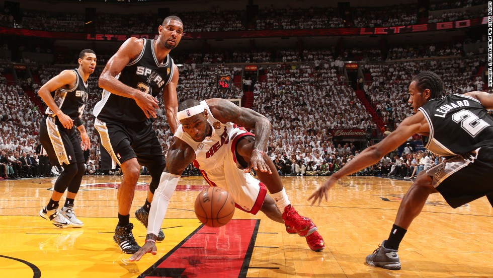 LeBron James of the Miami Heat drives to the basket against the San Antonio Spurs in Game 6 of the 2013 NBA Finals on Tuesday, June 18, in Miami.