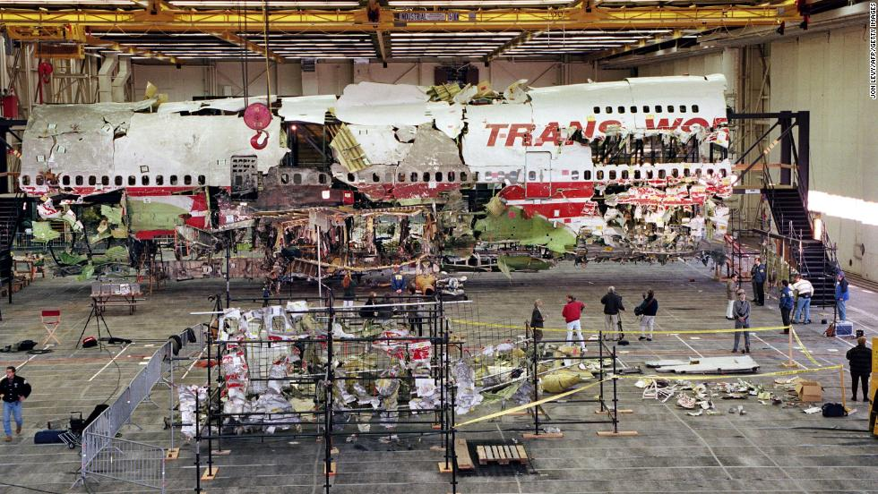 Wreckage of the front portion of the Boeing 747 aircraft is displayed in its reconstructed state on November 19, 1997, in Calverton, Long Island, New York.