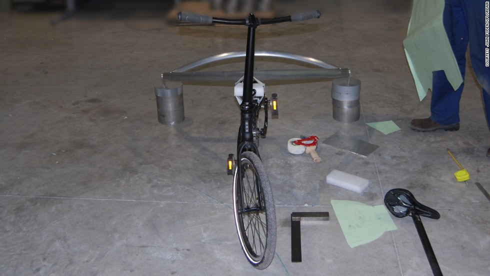 """Read and Foden currently construct the Paravelo in friends' workshops, but they hope to use some of the money raised from their <a href=""""http://www.kickstarter.com/projects/114063537/paravelo-the-worlds-first-flying-bicycle"""" target=""""_blank"""">Kickstarter campaign</a> to move to a more permanent home."""
