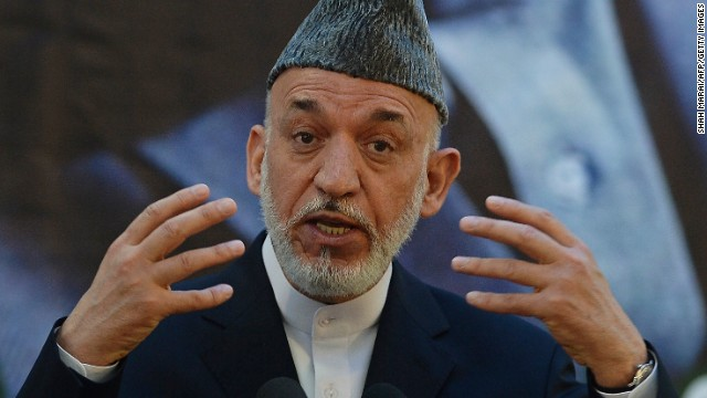 Afghan President Hamid Karzai speaks during a joint press conference with NATO Secretary General Anders Fogh Rasmussen.