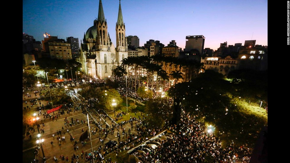 Students gather at Praca da Se in Sao Paulo on June 18.