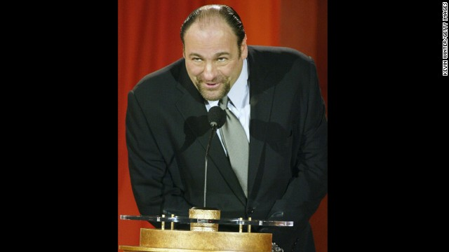 HOLLYWOOD - JANUARY 7:  Actor James Gandolfini speaks onstage at the 9th Annual Critics' Choice Awards gala at the Beverly Hills Hotel, January 10, 2004 in Beverly Hills, California.  (Photo by Kevin Winter/Getty Images)