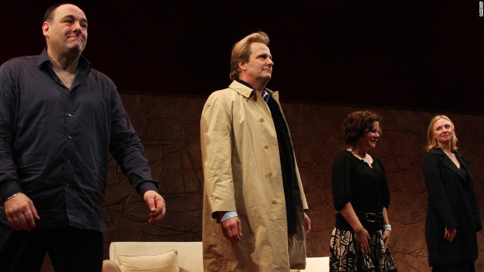 "Gandolfini, Jeff Daniels, Marcia Gay Harden and Hope Davis during the curtain call of the opening of the Broadway play ""God of Carnage"" on March 22, 2009, at the Broadway Theatre in New York."