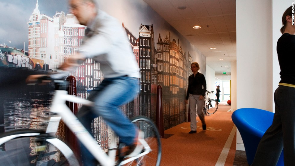 The office features an indoor bike lane.