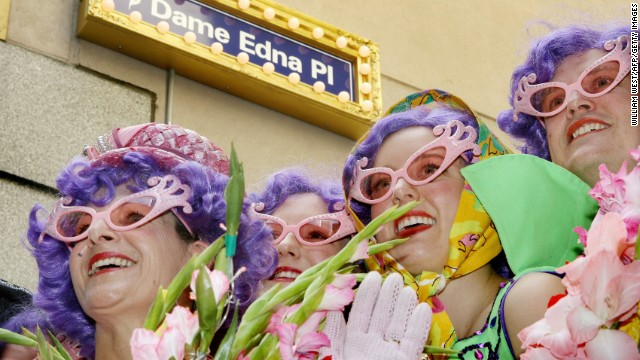 "In 2007, ""Brown Alley"" in Melbourne was renamed ""Dame Edna Place"" in honor of the local housewife and worldwide superstar."