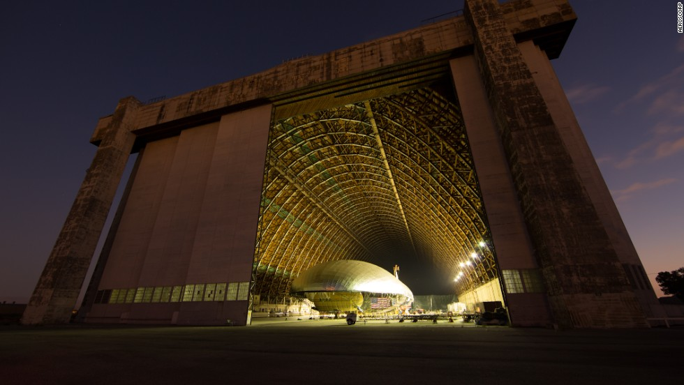 Aeroscorp, which also makes advertising airships, is testing a smaller version of the Aeroscraft at the company's massive flight test hangar in Tustin, California.