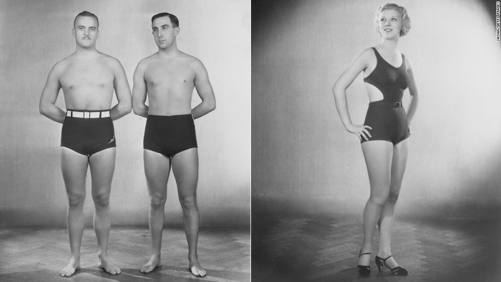 The Jantzen swimsuits of 1933 were form-fitting and less restrictive of movement than previous swimwear.