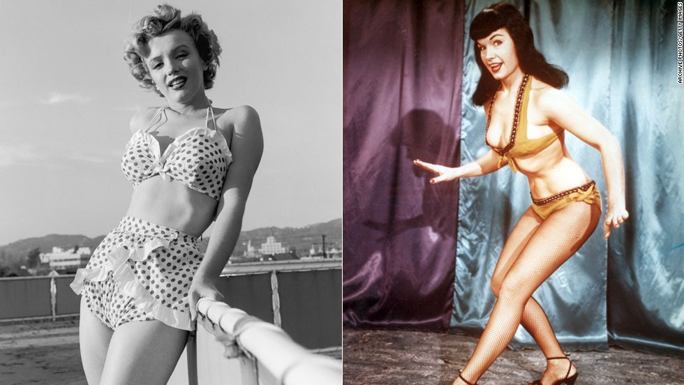 The bikinis of the 1950s offered women with curvy figures, like Marilyn Monroe, left, pictured in 1951, and Bettie Page circa 1955, the structured support of undergarments.