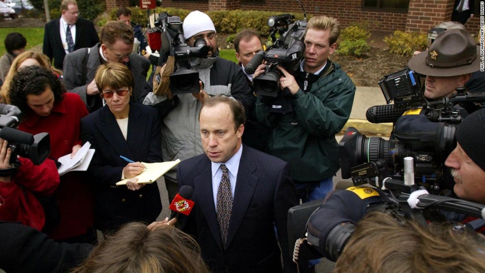Muhammad's defense attorney Peter Greenspun updates the media outside the Prince William County Circuit Court, where Judge LeRoy F. Millette Jr. held a hearing on November 13, 2002.