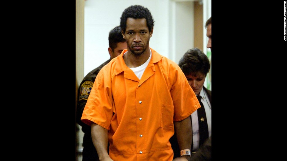 John Allen Muhammad, 41, arrives for a court appearance in Manassas, Virginia, in November 2002. Muhammad and Lee Boyd Malvo were suspected in a series of shootings in the District of Columbia, Virginia and Maryland in October 2002 that left 10 people dead and three wounded. Muhammad was put to death by lethal injection in 2009. His accomplice, Malvo, was sentenced to life imprisonment without the possibility of parole.