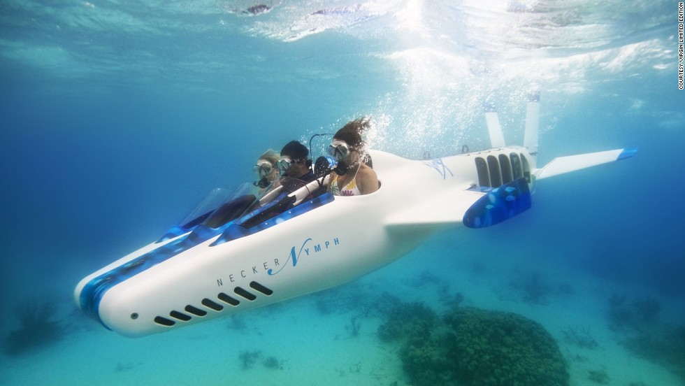"The state-of-the-art vessel also includes three-person mini sub, ""Necker Nymph,"" for underwater exploration."