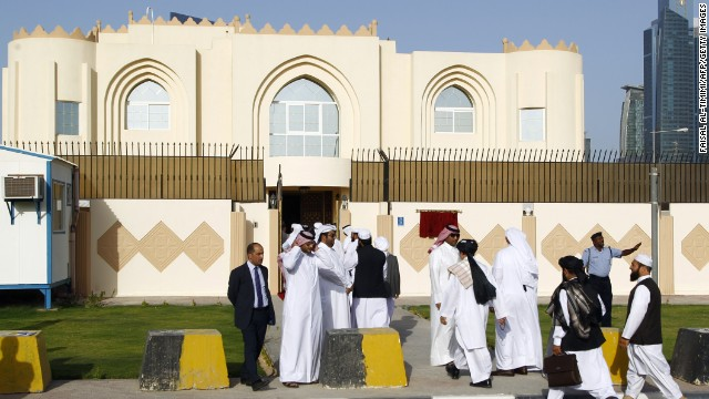 Guests arrive for the opening ceremony of the new Taliban political office in Doha on June 18, 2013. The office is intended to open dialogue with the international community and Afghan groups for a 'peaceful solution' in Afghanistan office spokesman Mohammed Naim told reporters. AFP PHOTO / FAISAL AL-TIMIMI (Photo credit should read FAISAL AL-TIMIMI/AFP/Getty Images)