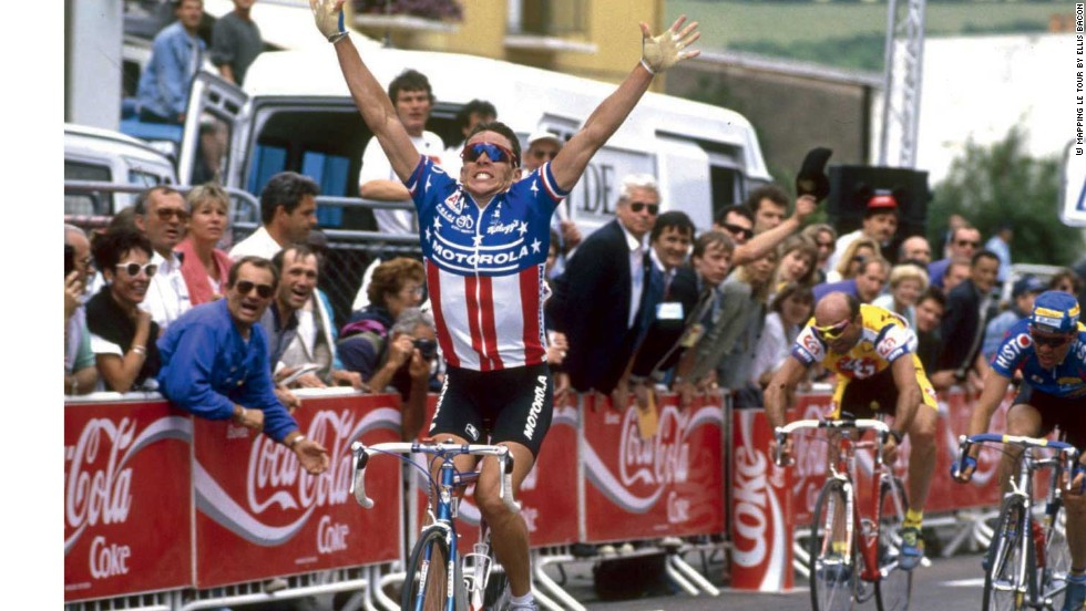 A young Lance Armstrong announces his arrival into the annuls of Tour history by claiming the eighth stage of the 1993 race in Verdun.