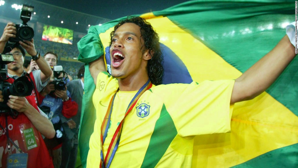 While Ronaldo was the star man in Japan and South Korea, he was ably supported by flamboyant playmaker Ronaldinho. Ronaldinho's performance in the World Cup earned him a move to Barcelona in 2003, where he went on to win the European Champions League in 2006. He was twice named FIFA World Player of the Year.