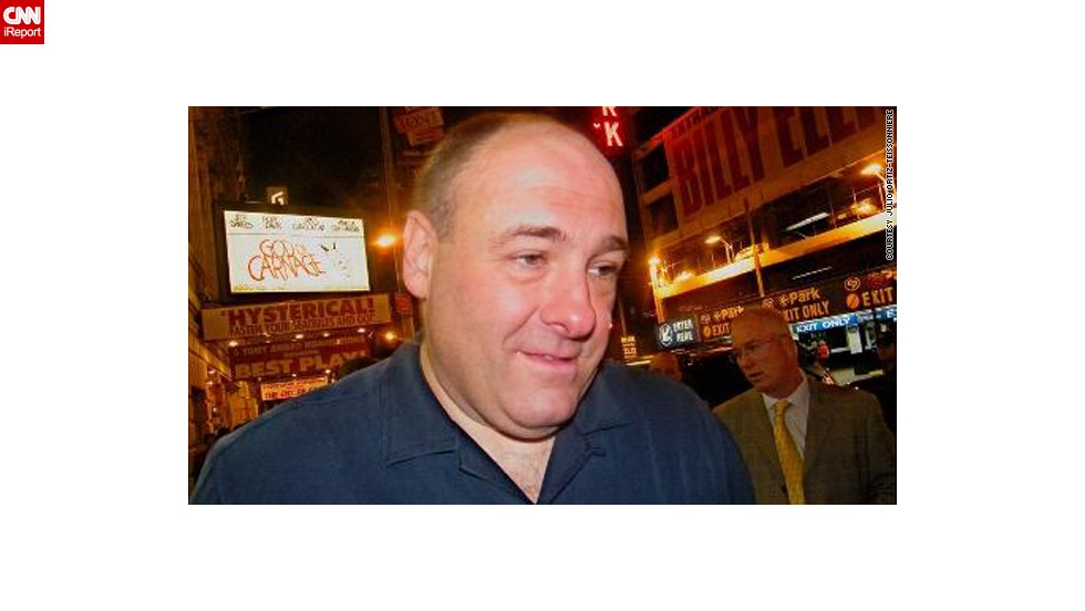 "<a href=""http://ireport.cnn.com/docs/DOC-267235"">Julio Ortiz-Teissonniere </a>met Gandolfini outside of his Broadway show, ""God of Carnage,"" in 2009.""I thought how cool it was when he spoke to a former classmate of his that was standing next to me waiting to get his autograph. He remembered her and he even asked about another classmate."""