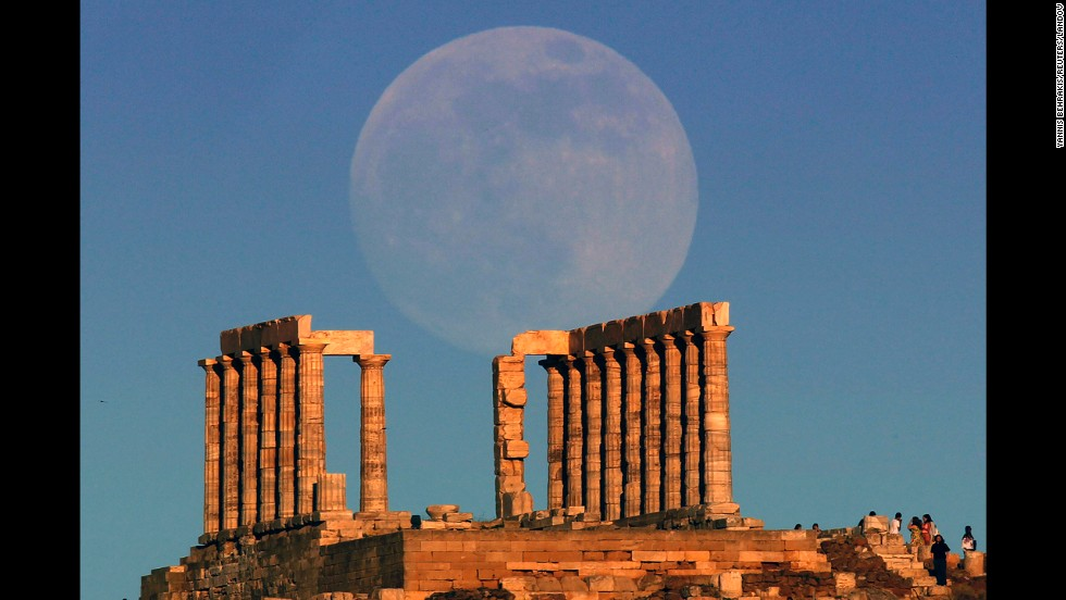 Supermoons offer photographers rare chances to capture dramatic images, such as this one of the moon rising over the temple of Poseidon in Cape Sounion in Greece on June 22, 2013.