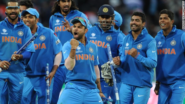 Virat Kohli and the Indian team celebrate the Champions Trophy final victory over England.